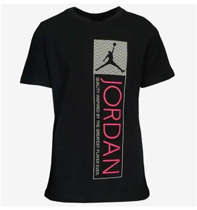 Детская футболка Jordan Retro 12 Tag черная с розовым